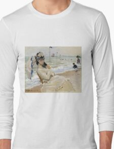 Claude Monet - Camille On The Beach In Trouville. Impressionism.Unique Gift Long Sleeve T-Shirt