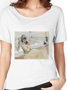 Claude Monet - Camille On The Beach In Trouville. Impressionism.Unique Gift Women's Relaxed Fit T-Shirt