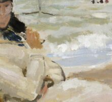 Claude Monet - Camille On The Beach In Trouville. Impressionism.Unique Gift Sticker