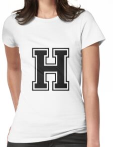 Letter - H  (black) Womens Fitted T-Shirt