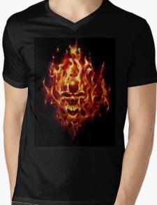 Flaming Skull Mens V-Neck T-Shirt