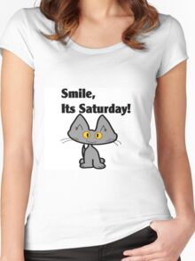 """A Gray Cat says """"Smile, it's Saturday!"""" Women's Fitted Scoop T-Shirt"""