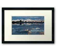 Reflecting on Boats and Clouds - Blue Marina  Framed Print