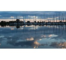 Reflecting on Boats and Clouds - Blue Marina  Photographic Print