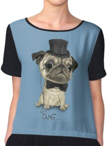 Pug; Gentle Pug (v3) Chiffon Top