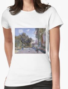 Claude Monet - Garden Of The Artist At Argenteuil 1873 Impressionism Womens Fitted T-Shirt