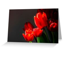 Red tulips on black background Greeting Card