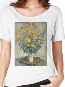 Flowers -Claude Monet - Jerusalem Artichoke Flowers 1880 Impressionism Women's Relaxed Fit T-Shirt