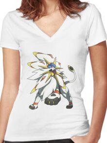 Solgaleo - Pokemon Sun Women's Fitted V-Neck T-Shirt