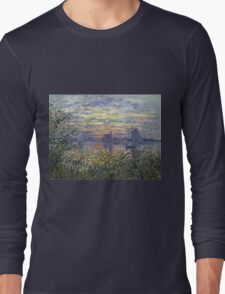 Marine View With A Sunset - Claude Monet Impressionism Long Sleeve T-Shirt