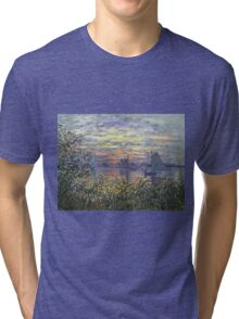 Marine View With A Sunset - Claude Monet Impressionism Tri-blend T-Shirt