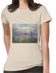 Marine View With A Sunset - Claude Monet Impressionism Womens Fitted T-Shirt