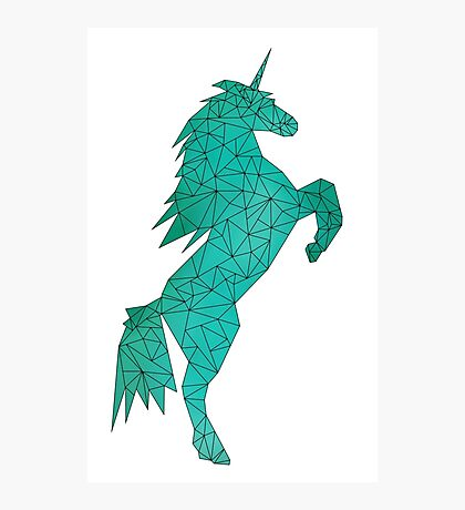 Geometric Unicorn - Teal 01 Photographic Print