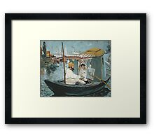 Claude Monet - Monet In His Floating Studio 1874 . Impressionism Framed Print