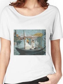 Claude Monet - Monet In His Floating Studio 1874 . Impressionism Women's Relaxed Fit T-Shirt