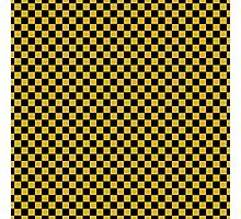 Primrose Yellow and Black Classic Checkerboard Repeating Pattern Photographic Print