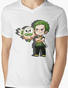 Zoro x Rowlet Mens V-Neck T-Shirt
