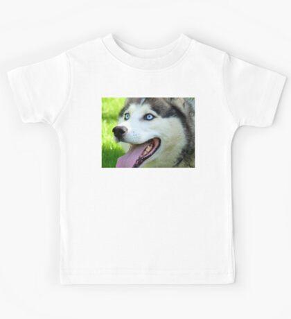 Micky Blue Eyes -Siberian Husky Dog - NZ Kids Tee