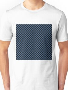 Iris Blue and Black Classic Checkerboard Repeating Pattern Unisex T-Shirt