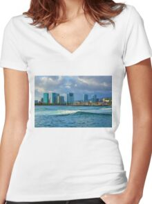 Honolulu Turquoise - Impressions of Hawaii Women's Fitted V-Neck T-Shirt