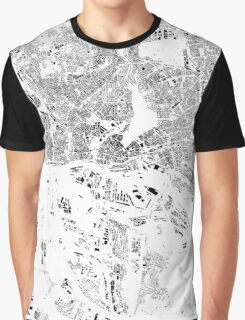 Hamburg Map Schwarzplan Only Buildings Urban Plan Graphic T-Shirt