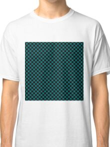 Forget Me Not Blue and Black Classic Checkerboard Repeating Pattern Classic T-Shirt