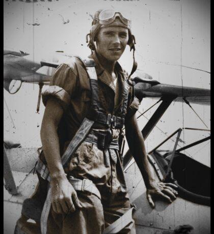 WWI Pilot Beside His Plane Sticker