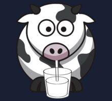 Cow Drinking Milk Kids Tee