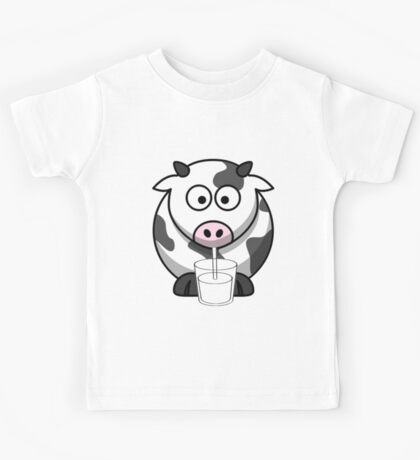 Cow Drinking Milk Kids Tee