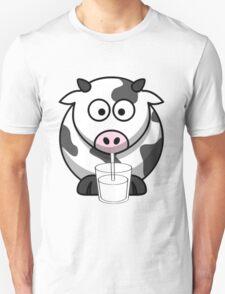 Cow Drinking Milk Unisex T-Shirt