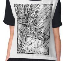 Wild Bird - Bird of Paradise Ink Drawing Chiffon Top