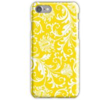Yellow & White Elegant Floral Damasks iPhone Case/Skin