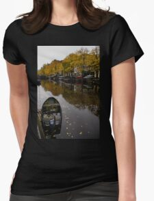 Autumn in Amsterdam - the Abandoned Boat Womens Fitted T-Shirt