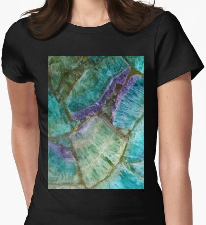 Colorful Fluorite semi precious gemstone stone texture Womens Fitted T-Shirt