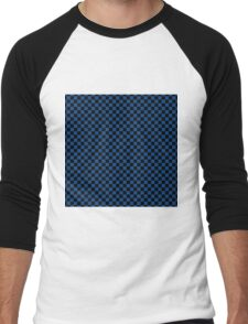 Morning Glory Blue and Black Classic Checkerboard Repeating Pattern Men's Baseball ¾ T-Shirt