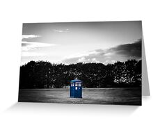 The TARDIS & sunset (the Blue Box colour edit) Greeting Card