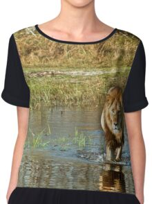 Lion crossing river Chiffon Top