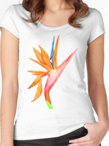 Handpainted Birds of Paradise Flower Women's Fitted Scoop T-Shirt