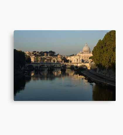Rome - Iconic View of Saint Peter's Basilica Reflecting in Tiber River Canvas Print