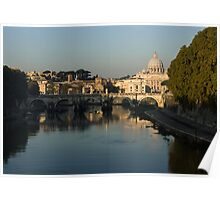 Rome - Iconic View of Saint Peter's Basilica Reflecting in Tiber River Poster