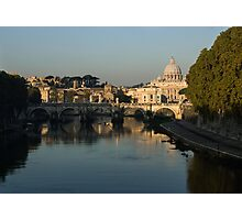 Rome - Iconic View of Saint Peter's Basilica Reflecting in Tiber River Photographic Print