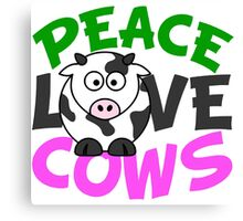Peace Love Cows Pink Canvas Print