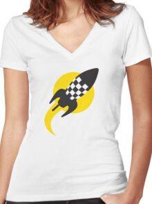 Rocket to Mars Women's Fitted V-Neck T-Shirt