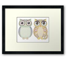 Owl Blue & Big-Eyed Cat Framed Print
