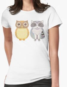 Owl & Raccoon Womens Fitted T-Shirt