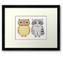 Owl & Raccoon Framed Print
