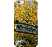 Famous Paris Metropolitain Sign with Golden Trees Background iPhone Case/Skin
