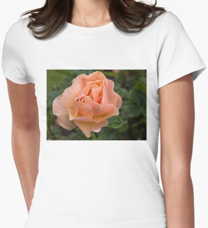 Peach Rose with Raindrops Womens Fitted T-Shirt