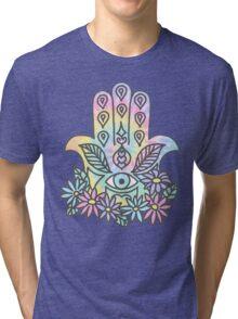 Tie Dye Pastel Neon Flower Crown Hamsa Yin Yang Trendy Hippie Print Tri-blend T-Shirt