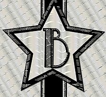 Art Deco Star monogram letter B by CecelyBloom